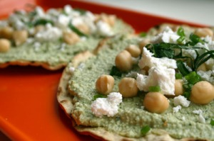 Tostadas Topped with Sprout Pate, Cheese and Herbs